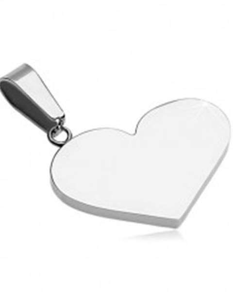 Prívesok z ocele 316L - ploché plné srdce, strieborná farba