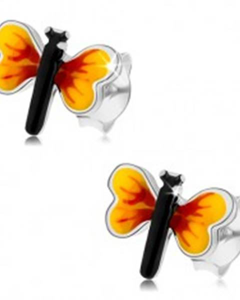 Strieborné 925 náušnice, malý motýlik, žlto-červené krídla, puzetky