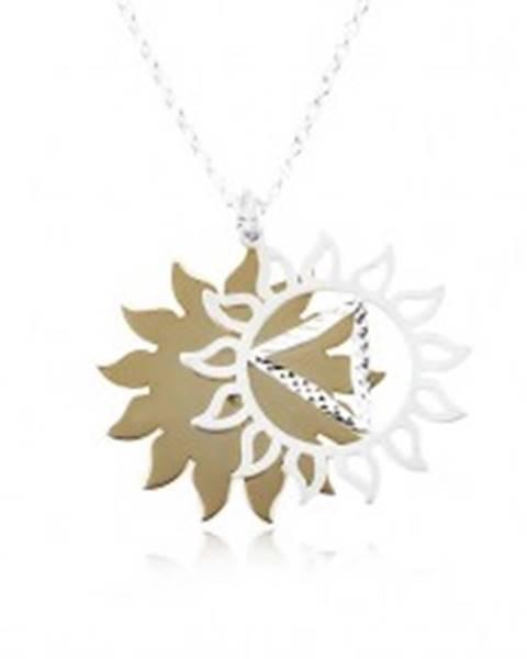 Strieborný 925 náhrdelník, vyrezávané slnko v dvojfarebnej kombinácii SP87.03