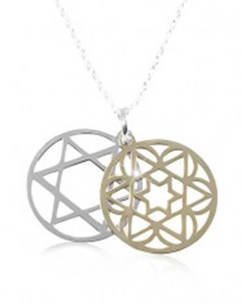 Strieborný náhrdelník 925, dvojfarebná vyrezávaná hviezda v kruhu SP87.30