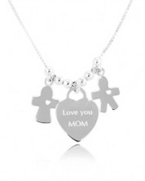 Strieborný náhrdelník 925, srdce s nápisom Love you MOM, chlapček a dievčatko