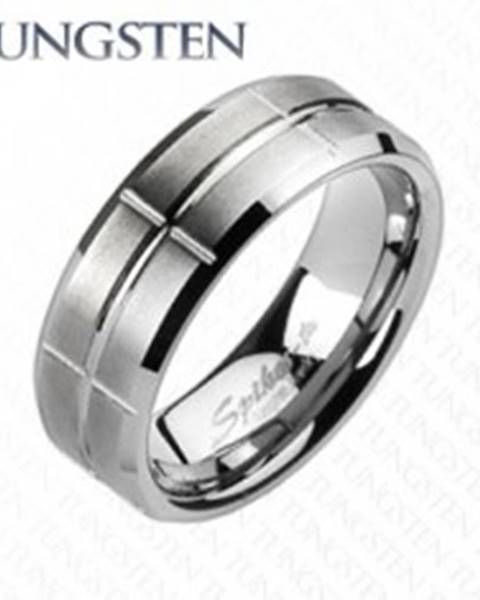 Wolfrámový prsteň - brúsený, so zárezmi - Veľkosť: 49 mm
