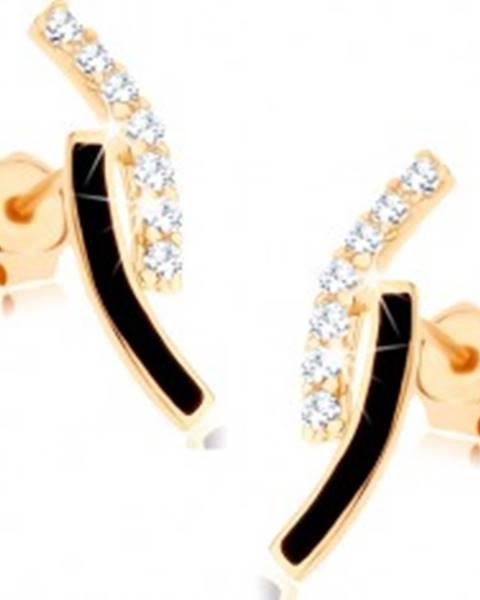 Zlaté náušnice 375 - dva oblúky, línia čírych zirkónikov, čierna glazúra