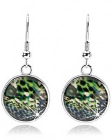 Náušnice cabochon, strieborná farba, číre sklo, pestrý abstraktný vzor