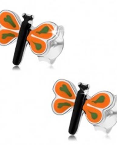 Náušnice zo striebra 925, malý motýlik s farebnou glazúrou, oranžové krídla I23.2