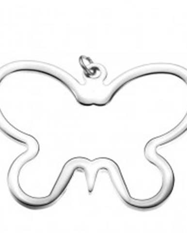 Prívesok z ocele - lesklý, oválny obrys motýľa