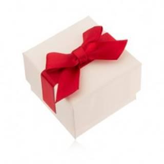 Krémová darčeková krabička na prsteň, prívesok a náušnice, červená mašľa