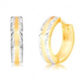 Náušnice v 14K zlate - lesklý krúžok s brúsenými okrajmi z bieleho zlata