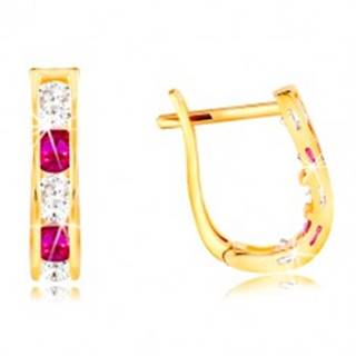 Náušnice v žltom 14K zlate - oblúčik zo zirkónov čírej a ružovej farby