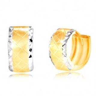 Náušnice zo 14K zlata - krúžok s brúsenými okrajmi z bieleho zlata