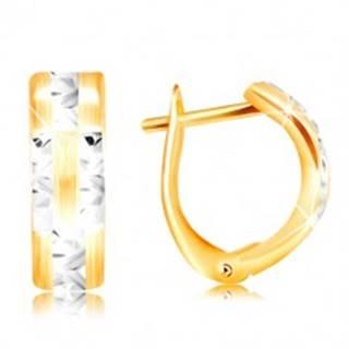 Náušnice zo 14K zlata - matný oblúk s ligotavými líniami z bieleho zlata