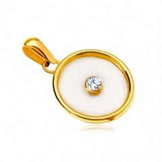 Prívesok v žltom 14K zlate - kruh s výplňou z perlete a čírym zirkónom v strede GG18.11