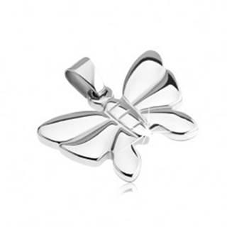 Prívesok z nehrdzavejúcej ocele - členitý motýľ