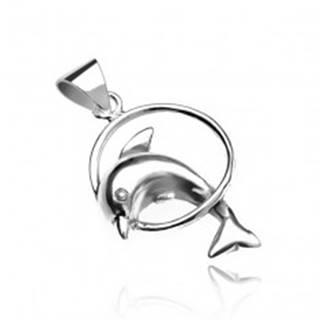 Prívesok zo striebra 925 - delfín skákajúci cez kruh V15.8