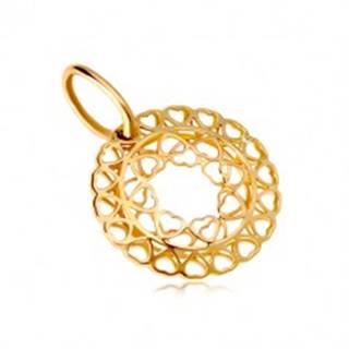 Prívesok zo žltého zlata 585 - kruh zo spojených drobných srdiečok GG18.19