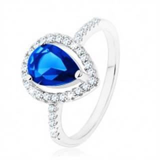 Prsteň, striebro 925, úzke ramená, zirkónová slza modrej farby - Veľkosť: 49 mm