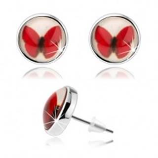 Puzetové kabošon náušnice, kruh s glazúrou, červený motýlik, biele pozadie