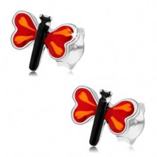 Puzetové náušnice zo striebra 925, farebný malý motýľ, červené krídla
