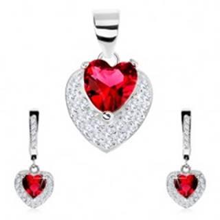 Set zo striebra 925, náušnice, prívesok, červené zirkónové srdce, číre zirkóniky