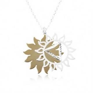 Strieborný 925 náhrdelník, vyrezávané slnko v dvojfarebnej kombinácii