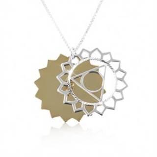 Strieborný náhrdelník 925, dvojfarebné vyrezávané slnko, ligotavé zárezy SP87.11