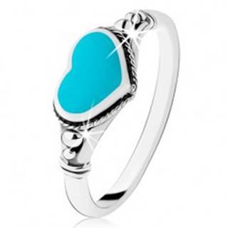 Strieborný prsteň 925, patinovaný, srdiečko z tyrkysu, guličky - Veľkosť: 49 mm