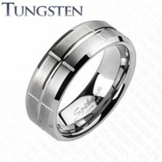 Wolfrámový prsteň - brúsený, so zárezmi C19.17 - Veľkosť: 49 mm