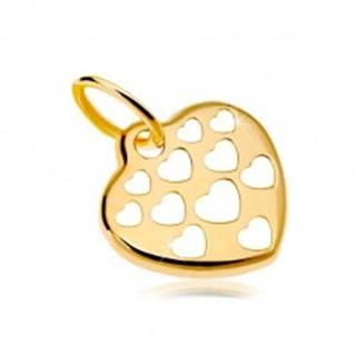 Zlatý prívesok 585 - lesklé srdce zdobené vyrezávanými srdiečkami GG18.21
