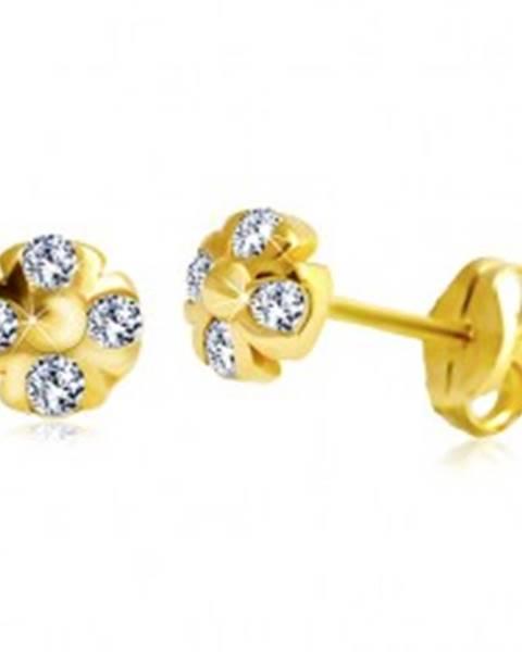 Náušnice zo žltého 14K zlata - kvietok s guľôčkou v strede a čírymi zirkónmi