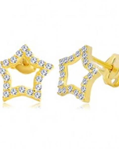 Náušnice zo žltého zlata 585 - kontúra hviezdy zdobená čírymi zirkónmi GG20.12