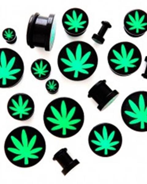Plug do ucha z akrylu s motívom marihuany - Hrúbka: 10 mm
