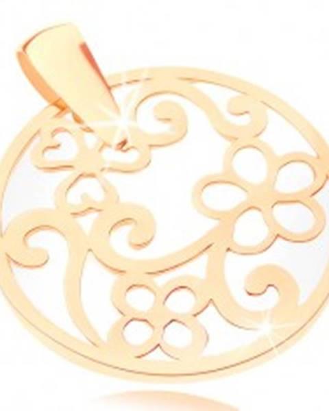 Prívesok v žltom 9K zlate - kontúra kruhu s ornamentami, perleťový podklad GG82.04