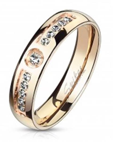 Prsteň z chirurgickej ocele medenej farby - okrúhle číre zirkóny, 5 mm - Veľkosť: 49 mm