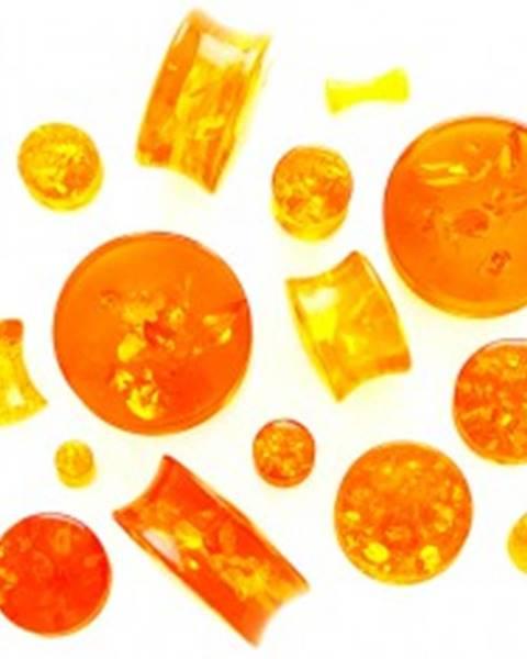 Sedlový plug do ucha z falošného jantáru - s nepravidelnými puklinami - Hrúbka: 10 mm
