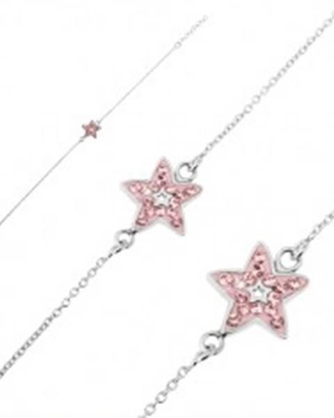 Strieborný náramok 925 - retiazka s ružovou hviezdou a zirkónmi