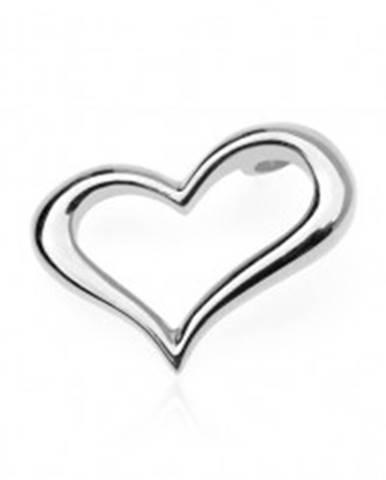 Strieborný prívesok 925 - zvlnené obrysové srdce, bočné uchytenie