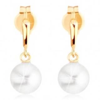 Náušnice v žltom 9K zlate - úzka slzička, guľatá biela perla