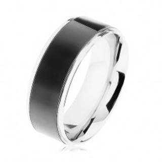 Oceľový prsteň, čierny pruh, lemy striebornej farby, vysoký lesk - Veľkosť: 57 mm
