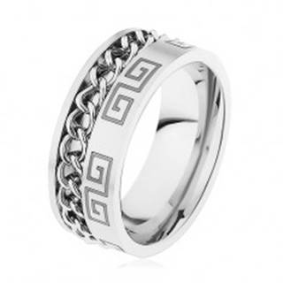 Oceľový prsteň striebornej farby, zárez s retiazkou, grécky kľúč - Veľkosť: 57 mm