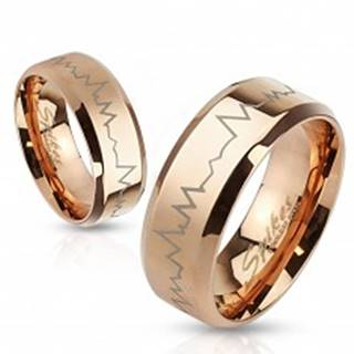 Oceľový prsteň v medenom odtieni - tlkot srdca, skosené okraje, 8 mm - Veľkosť: 59 mm