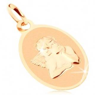 Prívesok zo žltého 9K zlata - oválny plochý medailón s anjelom, lesklo-matný