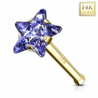 Rovný zlatý 585 piercing do nosa - zirkónová hviezda v modrofialovom odtieni
