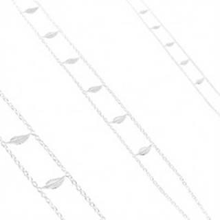 Strieborný náhrdelník 925, dvojitá retiazka, lesklé gravírované listy S10.21
