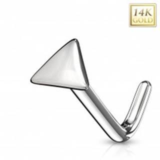 Zahnutý piercing do nosa z bieleho 14K zlata - lesklý trojuholník