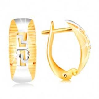 Zlaté náušnice 585 - oblúk lemovaný ryhami, vyrezávaný grécky kľúč