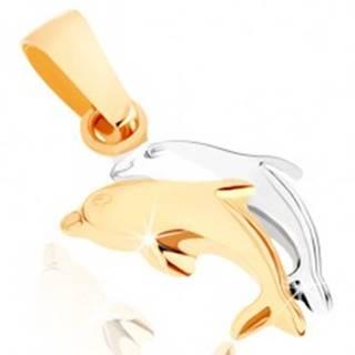 Zlatý prívesok 375 - dvojfarebné skáčuce delfíny, hladký vypuklý povrch
