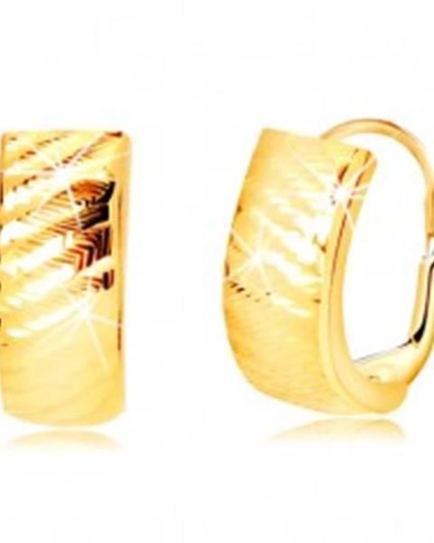 Náušnice zo žltého zlata 585 - oblúky so šikmými zárezmi, dámsky patent