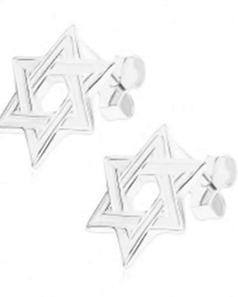 Puzetové náušnice, striebro 925, plochá šesťcípa hviezda, lesklé okraje