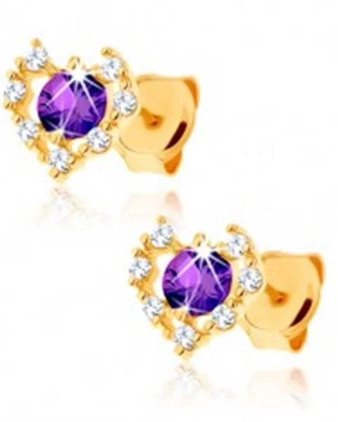 Zlaté náušnice 585 - číry zirkónový obrys srdca, fialový ametyst