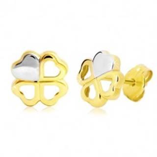 Náušnice v 14K zlate - dvojfarebný štvorlístok pre šťastie, puzetky